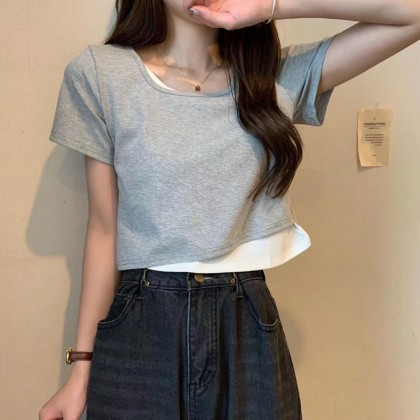 SQUARE NECK FAKE TWO-PIECE SHORT-SLEEVED TOP