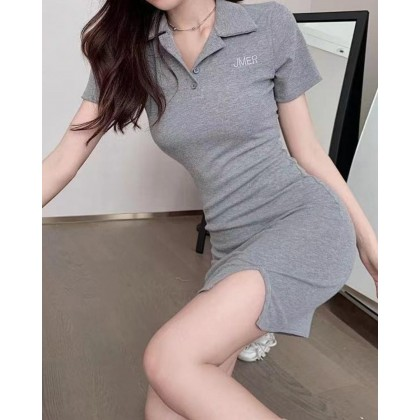 POLO COLLAR EMBROIDERED LETTER SLIM DRESS