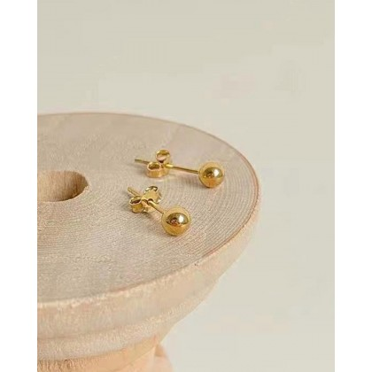 S925 STERLING SILVER GOLD-PLATED BALL STUD EARRINGS