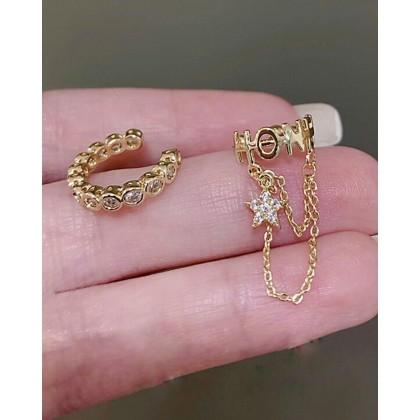 DIAMOND CHAIN LETTER EAR BONE CLIP