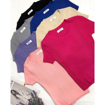PURE COLOR ROUND NECK SHORT-SLEEVE TOP