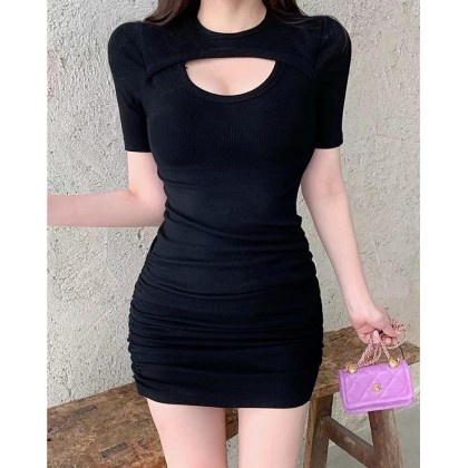 SEXY HOLLOW OUT DESIGN SLIM DRESS