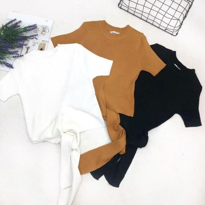 Korean Round Neck Knitted Top