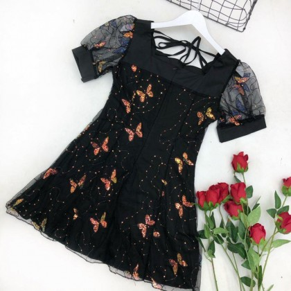 French Butterfly Puff Sleeve Waist Dress