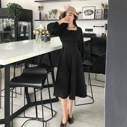 French Style Long Sleeve Dress