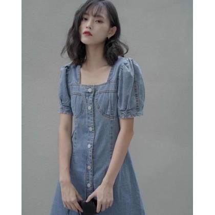 Retro Blue SquareCollar Denim Skirt