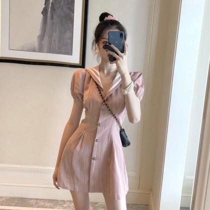 Navy Puff Sleeve Waist Dress