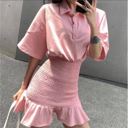 Temperament Waist Ruffle Dress