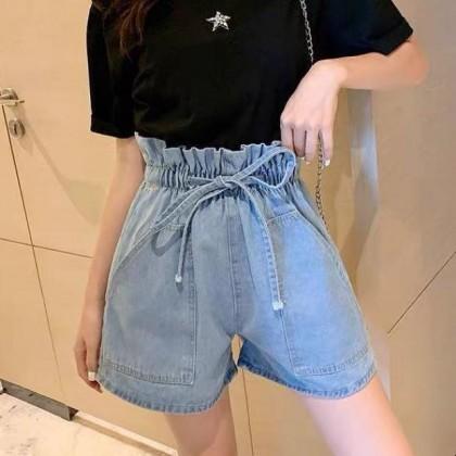 Loose Denim High Waist Wide Leg Shorts