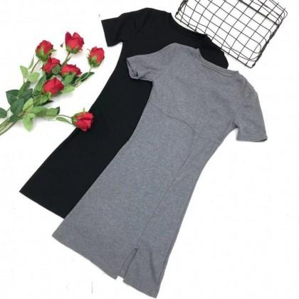 Round Neck Side Slit Dress