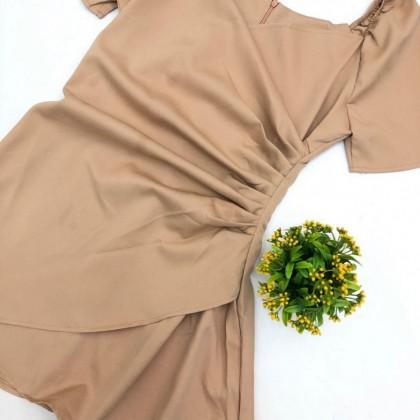 Autumn French Pleated Waist Dress