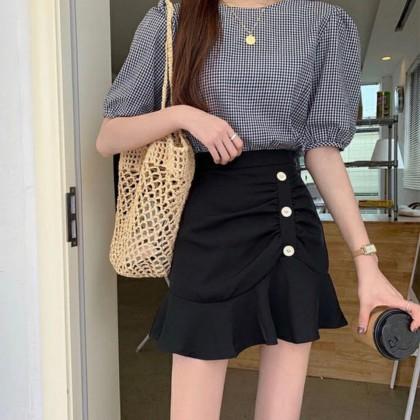 High Waist Irregular Fishtail A-Line Skirt