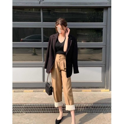 Brown High Waist Wide Leg Trousers
