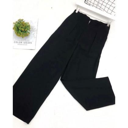HIGH WAIST ZIPPER STRAIGHT-LEG PANTS