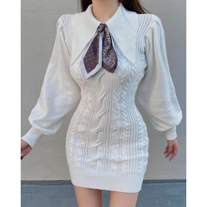 VINTAGE TEMPERAMENT TWIST SLIM DRESS