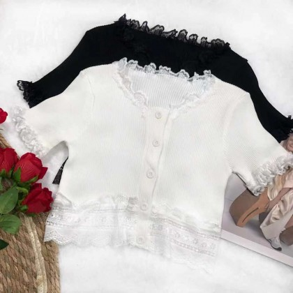 FRENCH STYLE TOP WITH LACE ON CUFFS, NECKLINE & WAIST