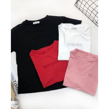 EMBROIDERED LETTERS SHORT SLEEVE T SHIRT