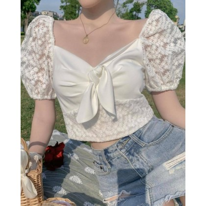 KOREAN LACE PUFFY SHORT SLEEVE TOP WITH BOW