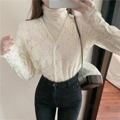 FRENCH STYLE VINTAGE LACE LONG SLEEVE TOP