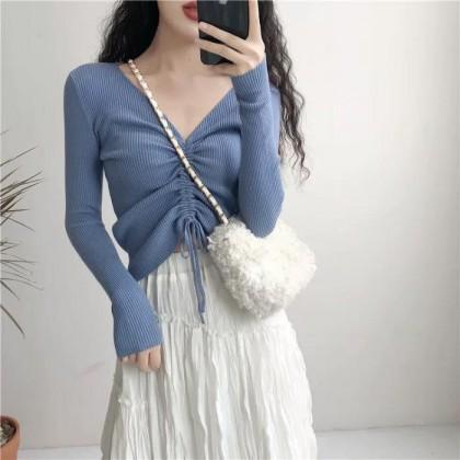 Drawstring Long Sleeve Knitting Top