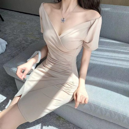 OFF SHOULDER WITH WAIST PLEATED DESIGN DRESS