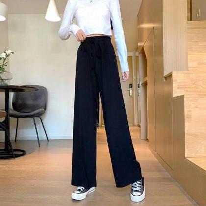 Elastic Waist Straight Through Trousers