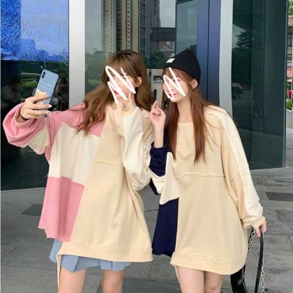 TWO-TONE STITCHING LONG-SLEEVED SWEATER