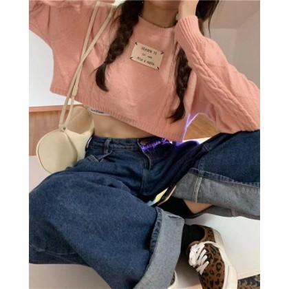 KOREAN ROUND NECK TWIST KNITTED CROP TOP