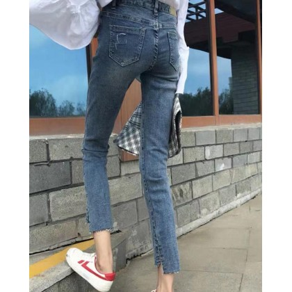 SIMPLE HIGH WAIST CROPPED SLIM JEANS