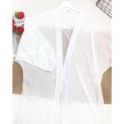 Loose Long Sleeve White Cardigan