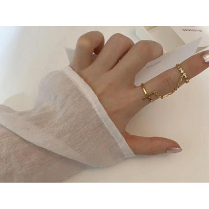 KOREAN STYLE 18 GOLD PLATED TWIN RING