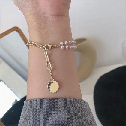 DOUBLE PEARL GOLD PLATED BRACELET