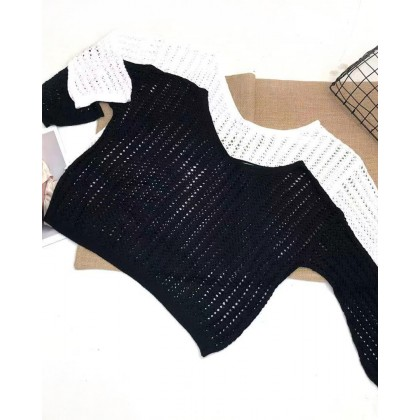 HOLLOW OFF SHOULDER KNITTED TOP