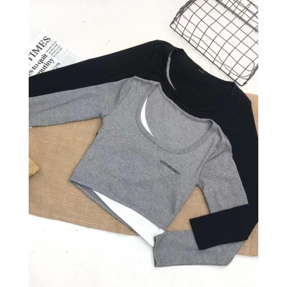 FAKE TWO-PIECE SQUARE NECK LONG-SLEEVED TOP