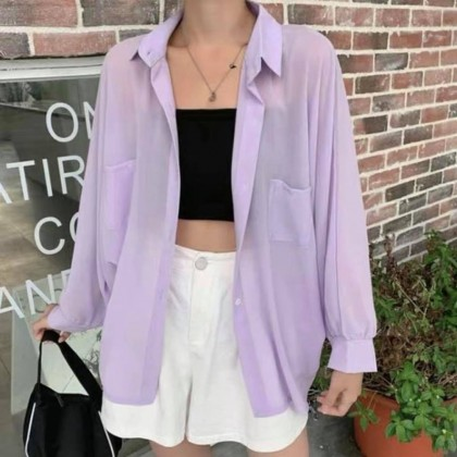 CANDY COLOUR LOOSE THIN CARDIGAN