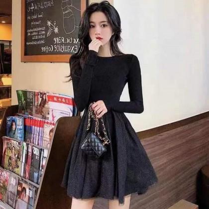 KOREAN STYLE NET YARN KNITTED DRESS