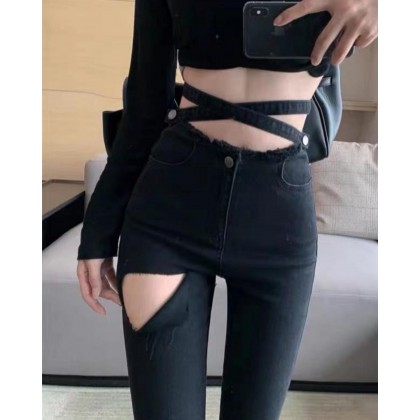 KOREAN STYLE SLIM FIT  RIPPED TROUSERS