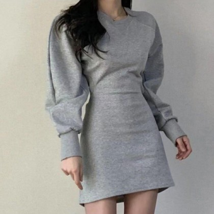 ROUND NECK HALTER LONG-SLEEVE DRESS