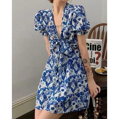 BLUE SWEET BOWKNOT FLORAL DRESS