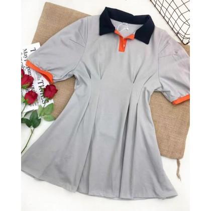 KOREAN POLO COLLAR WAIST DRESS