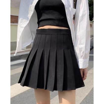 BLACK SWEET PLEATED SOLID COLOR SKIRT