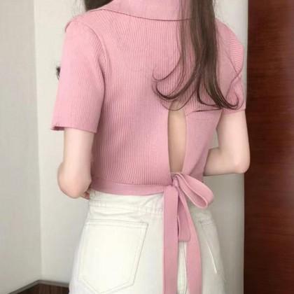 KOREAN POLO V-NECK SHORT-SLEEVE TOP