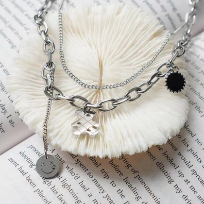 KOREAN DOUBLE LAYERED NECKLACE WITH BEAR