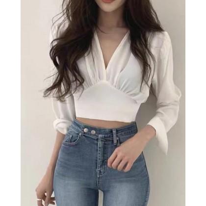 KOREAN LONG SLEEVE V-NECK SELF-TIE TOP