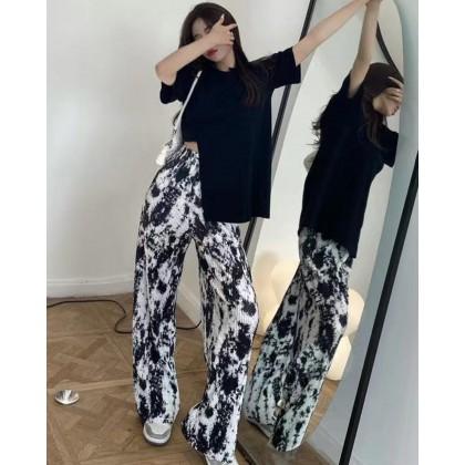 IRREGULAR LOOSE TOP+TIE-DYE STRAIGHT-LEG PANTS